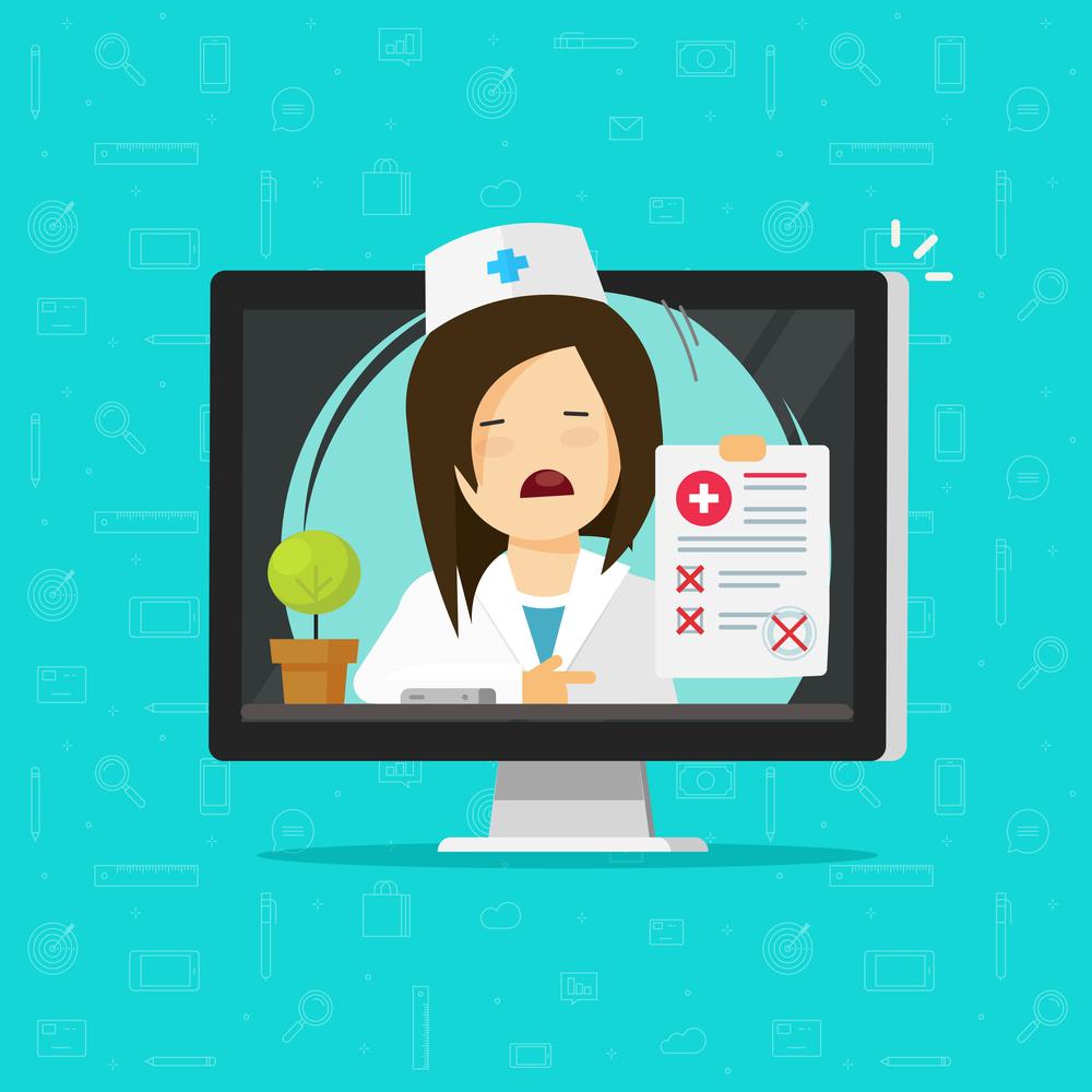 Dibujo enfermera mostrando resutados médicos a través del ordenador. Teleasistencia